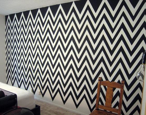 Black Amp White Chevron Wall Dream Home Pinterest Zig