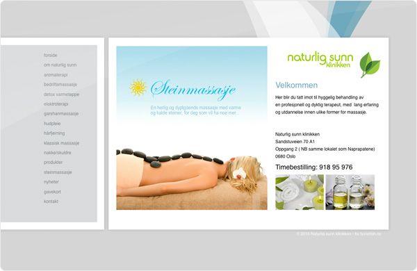 """Naturlig Sunn klinikken tilbyr behandling og massasje for en stresset sjel. Vi designet websiden med en """"clean"""" og fresh look hvor menyen tydelig viste alt de har tilby av behandlinger og produkter. Vi utførte også foto, logo, annonseproduksjon og profilering."""