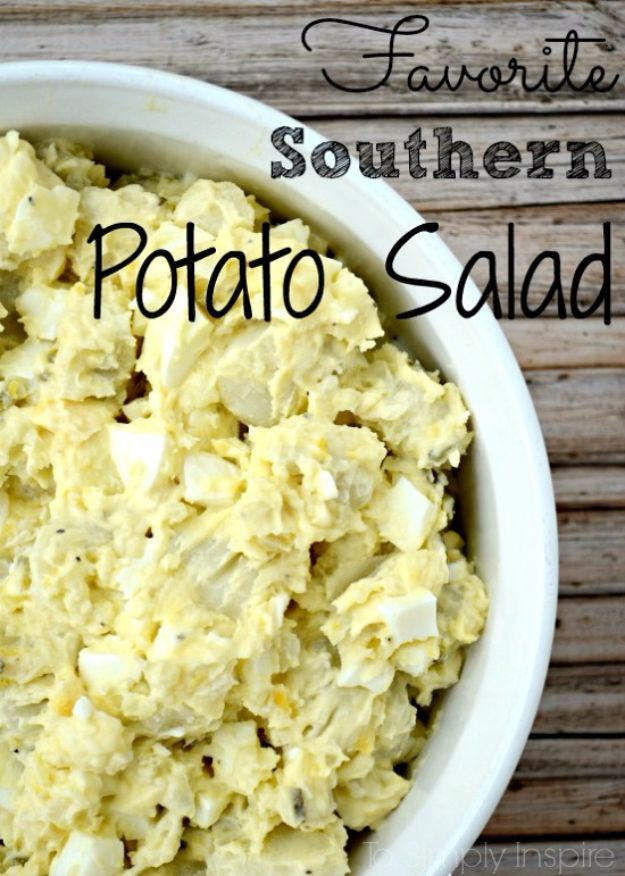 Best Country Cooking Recipes - Southern Potato Salad - Easy Recipes for Country Food Like Chicken Fried Steak, Fried Green Tomatoes, Southern Gravy, Breads and Biscuits, Casseroles and More - Breakfast, Lunch and Dinner Recipe Ideas for Families and Feeding A Crowd - Step by Step Instructions for Making Homestyle Dips, Snacks, Desserts http://diyjoy.com/country-cooking-recipes