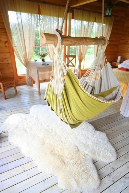 modern interior design with hammocks