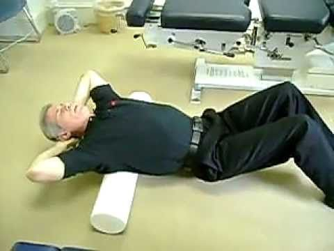 Foam Roller Stretching of the Spine...these are excellent stretches and will release all of that tension we all tend to hold in our upper back and shoulder muscles. You can also just lie on the roller as he demonstrates at first without going back and forth