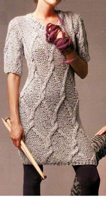 Chaleco largo tejido a palillo Talla: 38 — 40. chaleco largo tipo vestido tejido a palillo OjoconelArte.cl |