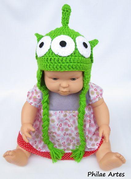 Touca alien toy story beanie hat crochet Disney pixar UFO et extraterrestre - by Philae artes