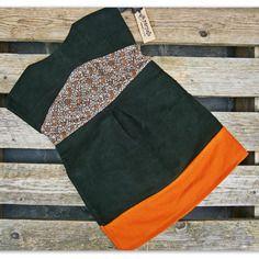 Abitino bimba in vellutino verdone e lana arancio con fantasia autunnale