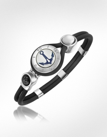 Anchor  Compass Stainless Steel and Rubber Bracelet