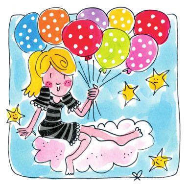Een meisje op een wolk met 8 gekleurde ballonnen