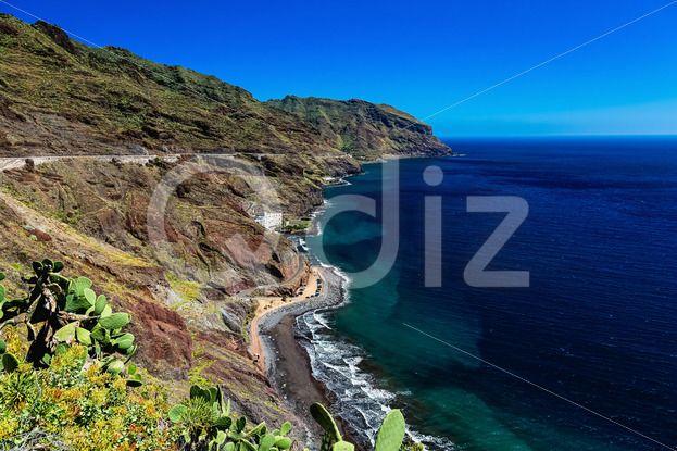 Qdiz Stock Photos | Coast or shore of Atlantic ocean,  #Atlantic #blue #Canary #coast #green #horizon #island #landscape #mountain #nature #ocean #rock #scenic #sea #sky #skyline #Spain #spring #summer #Tenerife #view