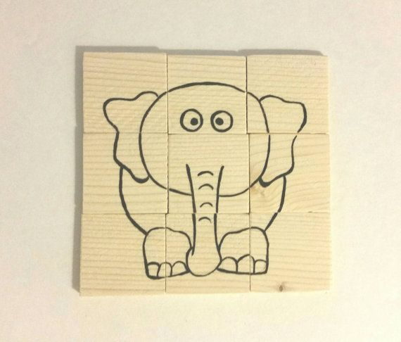Wooden Animal Puzzle 9 Piece Elephant and by GardenOfLearning