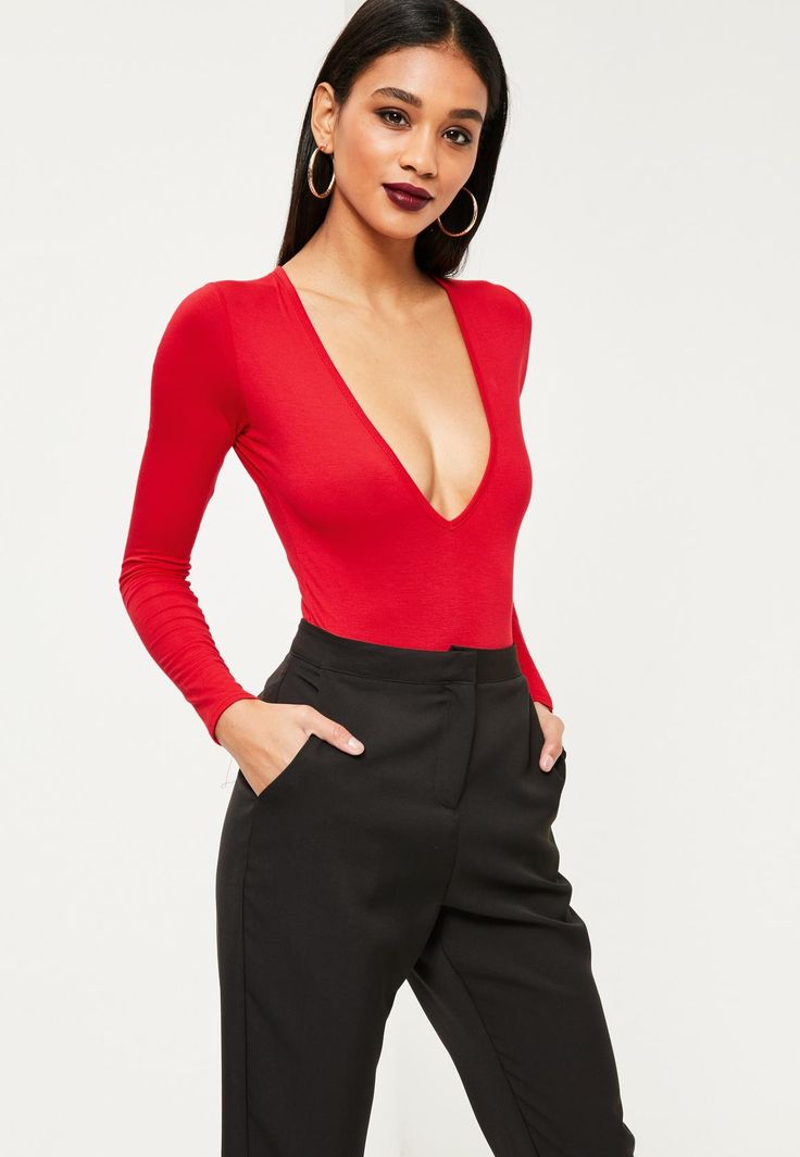 Missguided - Long Sleeve V-Neck Bodysuit Red