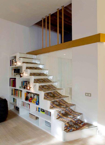 Mezzanine stairs and bookshelf