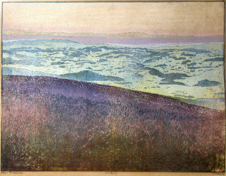 The Alps as viewed from Třístoličník (Dreisesselberg) hill - colored woodcut  - by Josef Vachal
