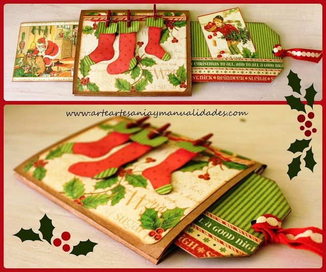 arte artesania y tarjeta deslizante navidad