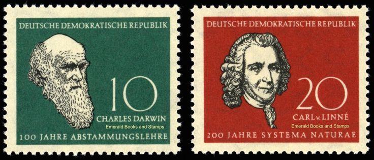 EBS East Germany DDR 1958 Charles Darwin & Carl Linnaeus Michel 631-632 MNH** | eBay