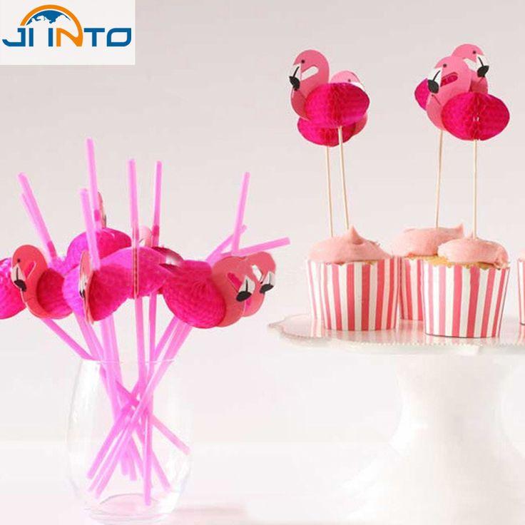 Розовый фламинго соломы партии бумаги улей соломы соломы мультфильма торт топпер купить на AliExpress