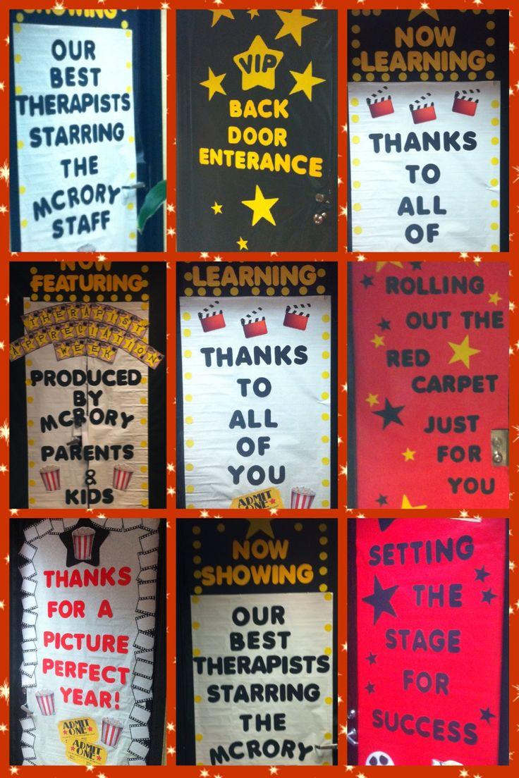 Therapist Appreciation Week aka Teacher Appreciation Week... At Mcrory Pediatrics Preschool... Classroom Door Decorations... Hollywood Theme...
