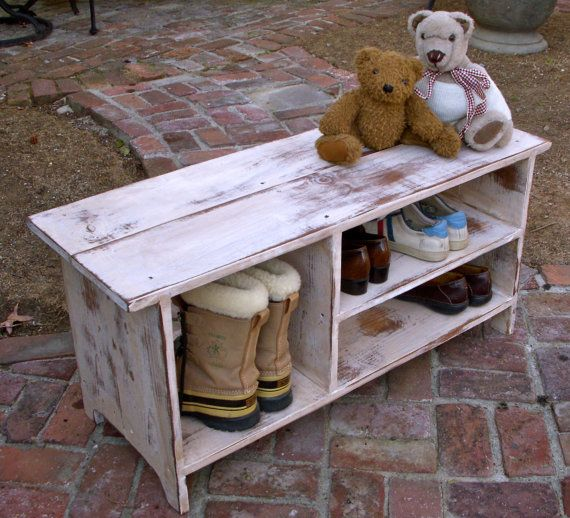 Make a bench out of book shelf | Wood Shelf, Storage - Shoe Bench - Entryway - Hall - Shoe Storage