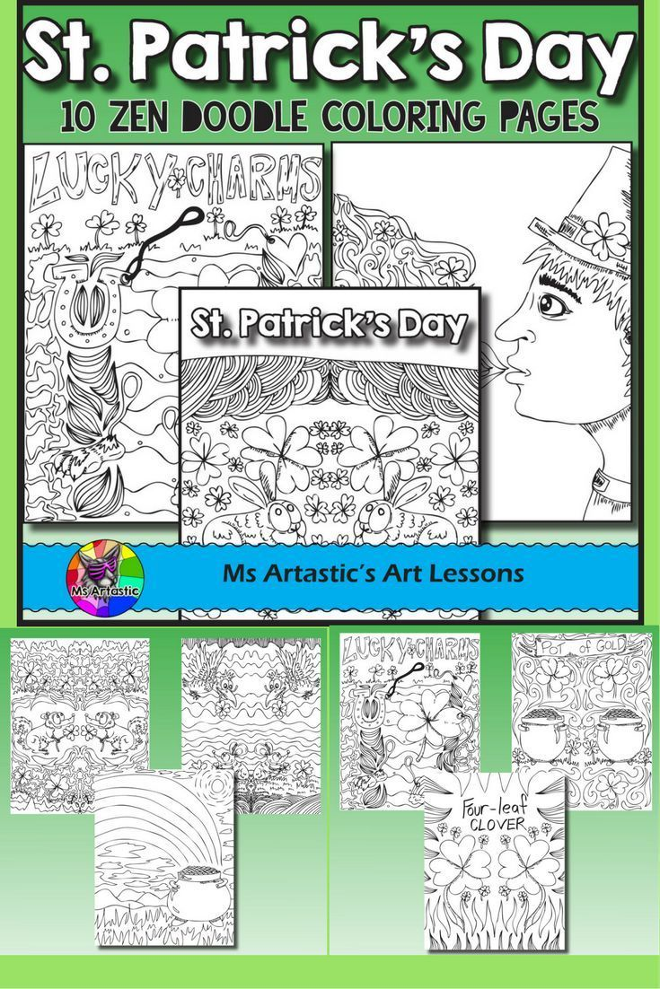 10 zentangle, doodle coloring pages to celebrate St. Patrick's Day in your classroom. Mindful, zen, coloring sheets for all ages. All 10 pages are hand drawn by Ms Artastic. These coloring sheets are very detailed and are a great way to get into the theme