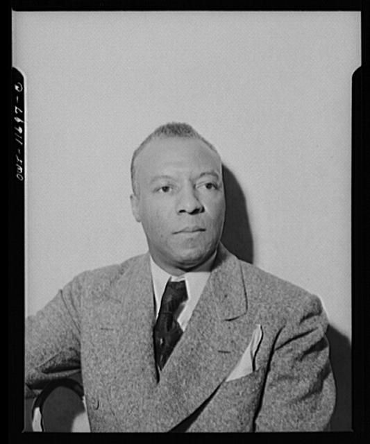 A. PHILIP RANDOLPH, head-and-shoulders, wearing jacket and tie. Silver gelatin photograph by Gordon Parks for Office of War Information, Washington, D.C., 1942 Nov.  Library of Congress Prints and Photographs Division  A. Philip Randolph Papers collection at the Library of Congress:  http://hdl.loc.gov/loc.mss/eadmss.ms005004