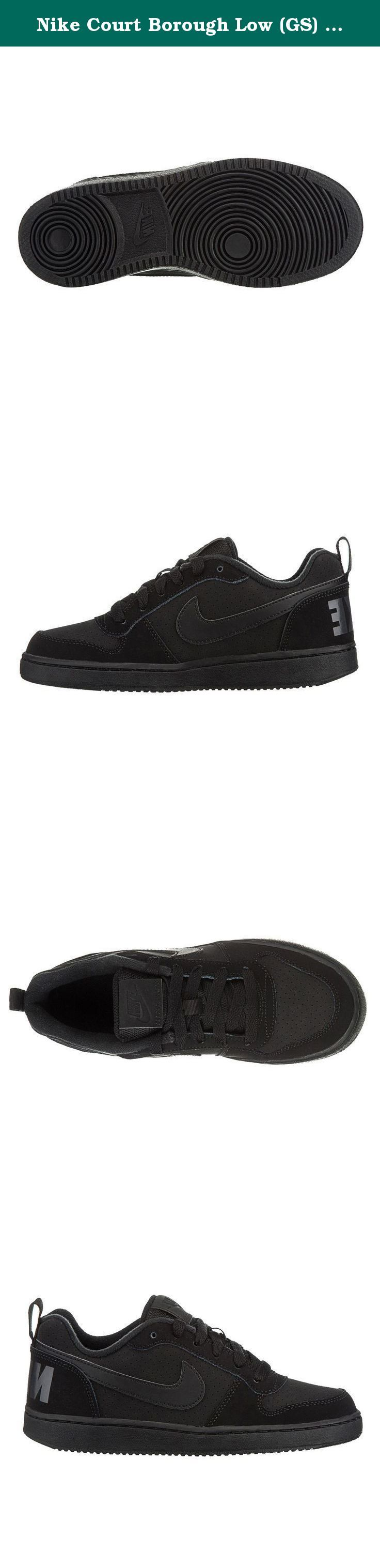 Nike Court Borough Low (GS) Grade School Shoes Black/Black-Black 839985-001 (5.5). Nike Court Borough Low (GS) Boys shoes, feature basketball-inspired design which is engineered to give you a maximum support and to feel light when worn. Low ankle structure offers a relaxed fit and will provide comfort. Dish base structure creates stability and remains flexible. Solid rubber outsole yields outstanding grip and durability.