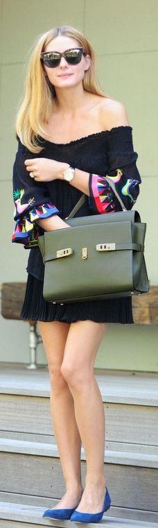 Who made Olivia Palermo's green handbag and cat sunglasses?