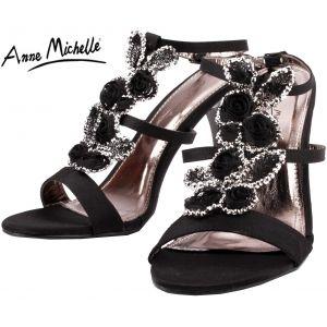 L3338 černé plesové boty společenské boty na podpatku páskové/299 KČ/