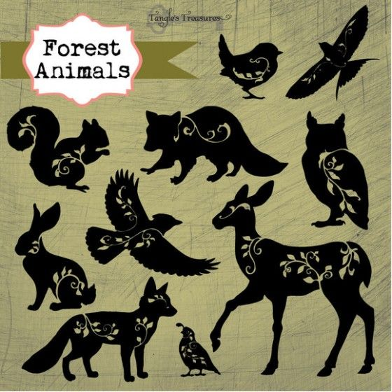 forest animals - silhouettes with flower swirls.  Fox, rabbit, deer, owl, squirrel, eagle, bird, tribal, swirl, flower, stencil, template