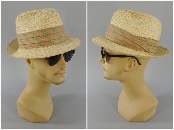 93679f8d52825d Bee Cool Straws Mens Fedora Hat, Original 1940s - 1950s Vintage High Crown  Straw Hat with 2