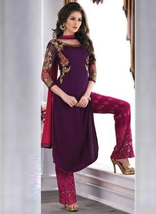 Amazing Wine Chiffon Embroidered Top With Karachi work Bottom Party Wear Salwar suit http://www.angelnx.com/Salwar-Kameez#/-a80-vPakistani%20Suit/sort=p.date_added/order=DESC/limit=32/page=2