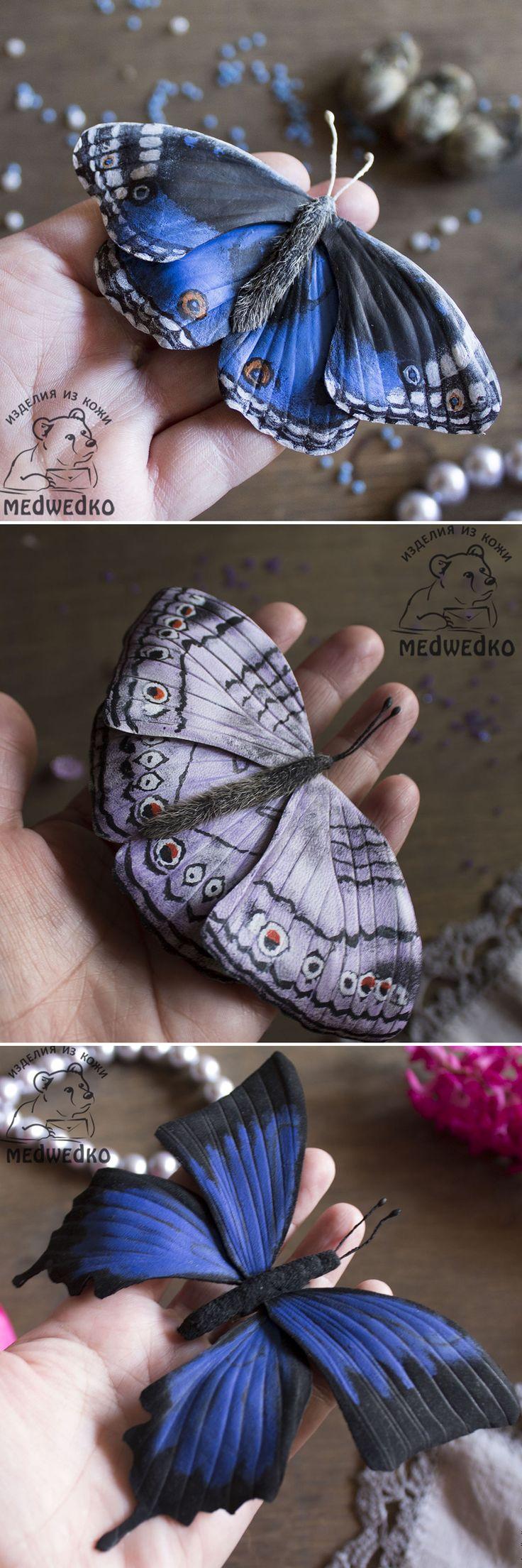 Leather Butterfly Brooches | Кожаные броши-бабочки — Купить, заказать, украшение, брошь, брошка, бабочка, кожа, ручная работа, мода, стиль