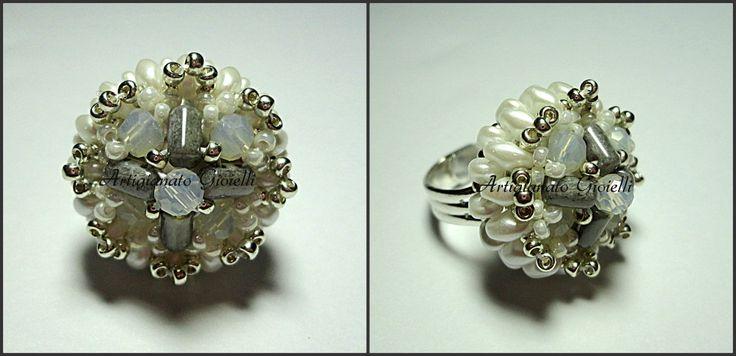#wedding #ring #accessories #matrimonio #sposa #superduo #anello #perline #beads #beadwork #twinbeads  Look here: youtu.be/tPlWOJlwt44