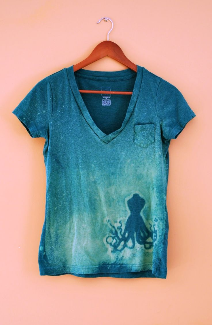 Lucille's: DIY Bleached Design Shirt-Would be cute with an Ariel Silhouette