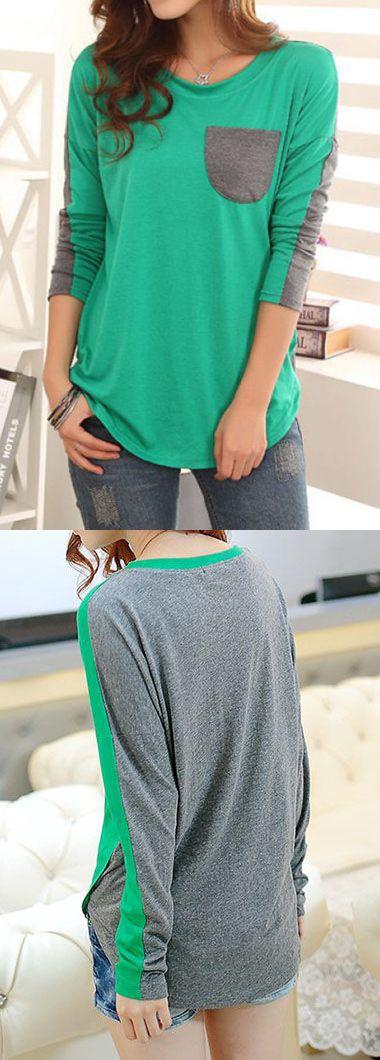 Pocket Embellished Long Sleeve Green T Shirt.