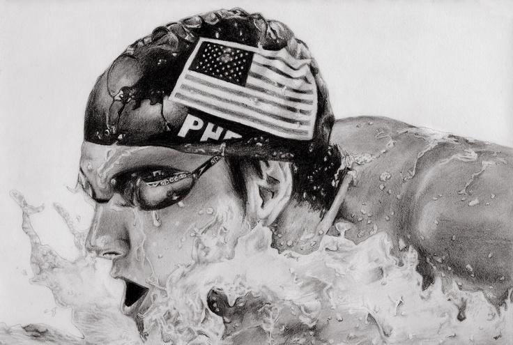 Michael Phelps Black and White Wallpaper