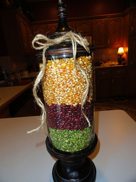 Fall Apothecary Jar. Dried lentils, red beans and popcorn. Love.