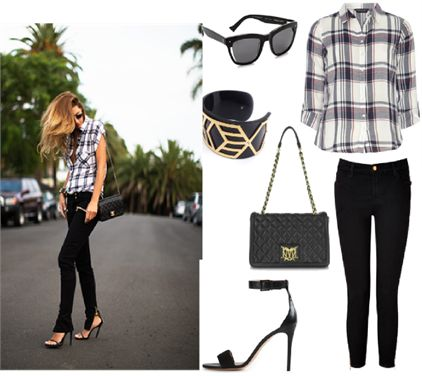 Zip Detailed Jeans   Get this stylish casual look with a pair of J Brand zip detail jeans, a red and blue Dorothy Perkins check shirt and Tory Burch stiletto sandals. Accessorise with a Moschino quilted bag, Grey Ant sunglasses and an Anna Byers cuff.