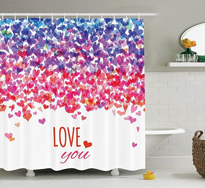 Love Shower Curtain By Ambesonne Hearts And Love You Message