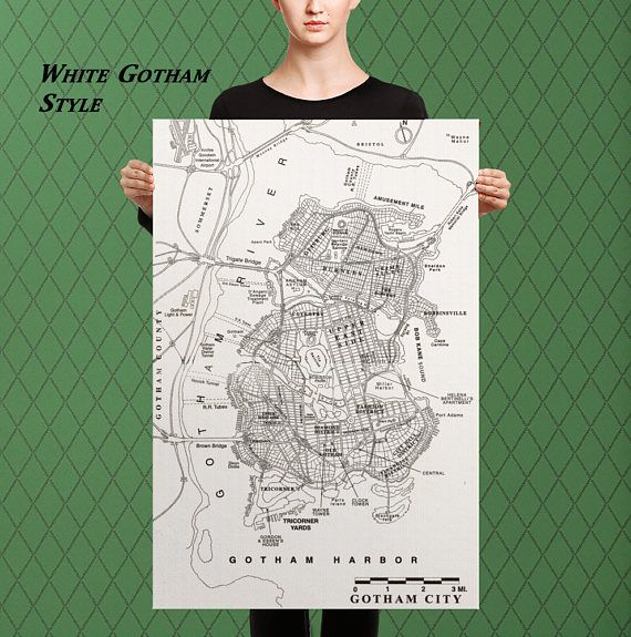 Gotham City Batman Inspired Map of Gotham City Custom Raised