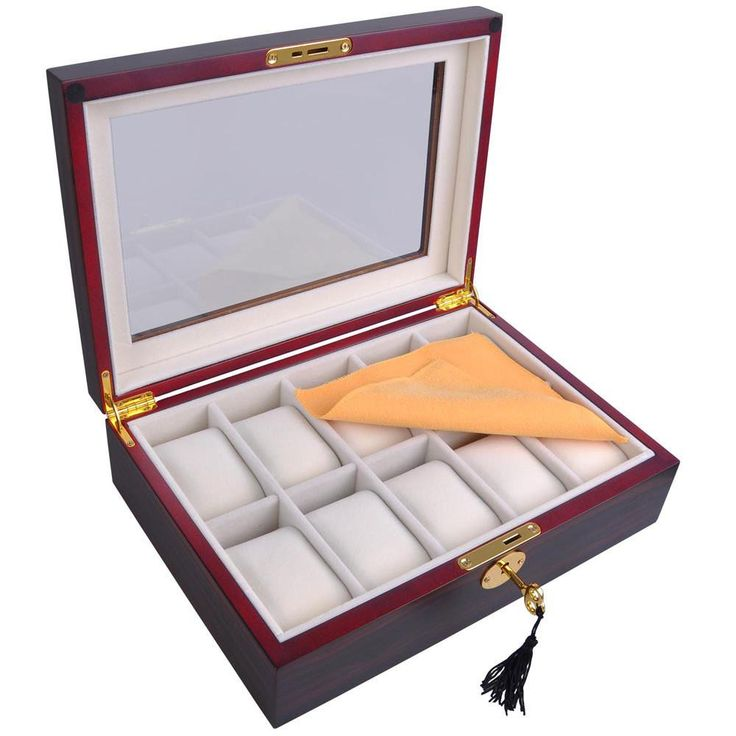 Ebony Matte Stain Glass Top Wooden 10 Watch Display Case