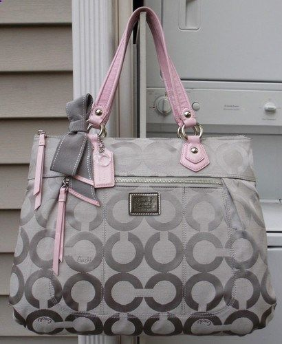 MINT AUTH Coach POPPY Pink Grey OP ART SIG Scarf Glam Tote/Handbag 17937 RARE--be still my heart