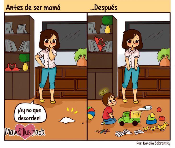 Ilustración ser mamá antes y después