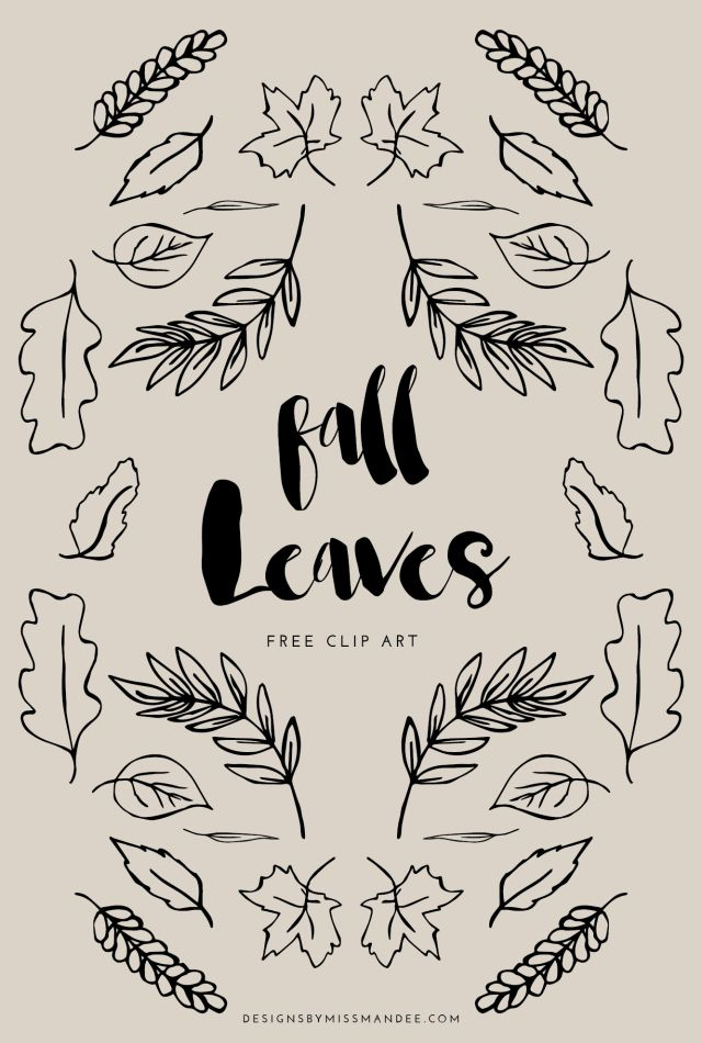 FREE Fall Leaf Clip Art - Designs By Miss Mandee. These would be perfect for photo overlays, chalkboard graphics, or any fall-themed design! A couple of these would work as laurel wreaths too.