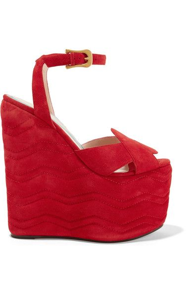 Gucci - Quilted Suede Wedge Sandals - Red - IT40.5