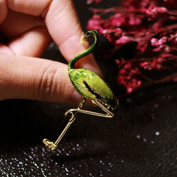24k gold flamingo bird brooches ($14) ❤ liked on Polyvore featuring jewelry, brooches, green, 24k jewelry, 24k gold jewellery, green brooch, gold jewellery and 24-karat gold jewelry