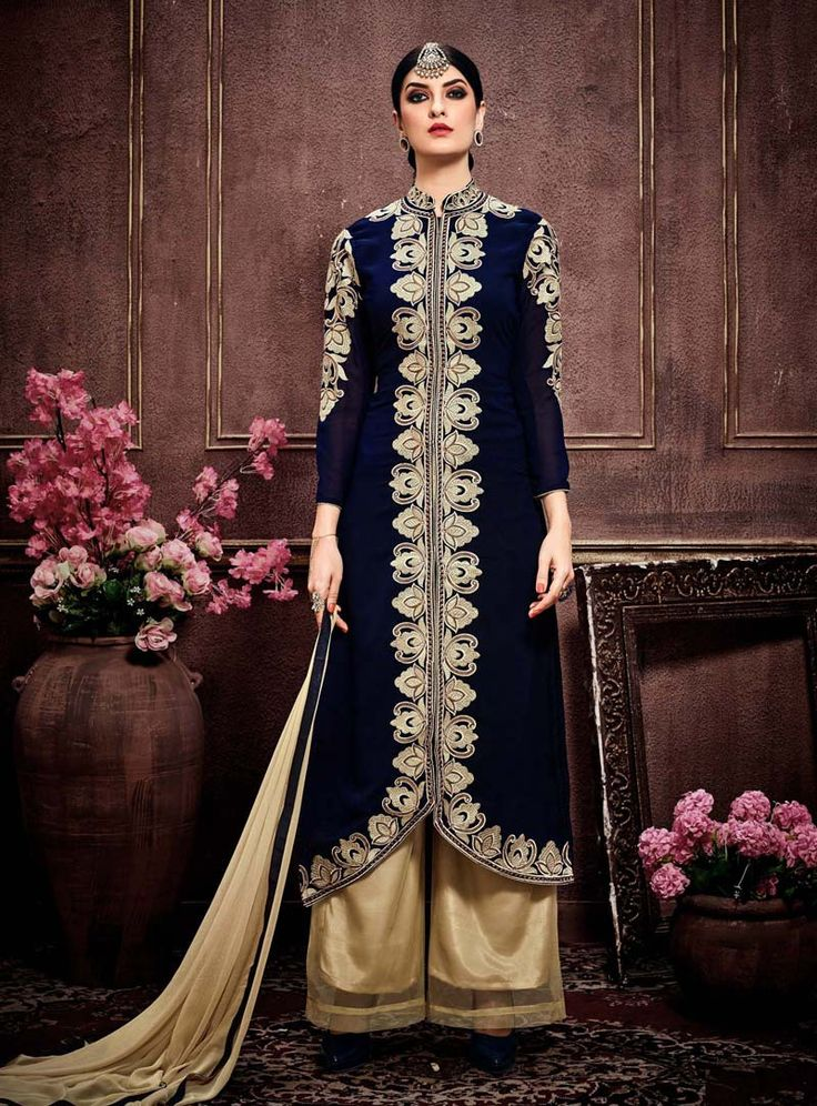 Buy Navy Blue Faux Georgette Palazzo Style Suit 91229 online at lowest price from huge collection of salwar kameez at Indianclothstore.com.