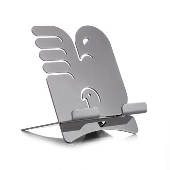 """Tablet stand """"Alicanto"""" by Holly Birkby for Carrol Boyes. Polished stainless steel. Made in South Africa."""