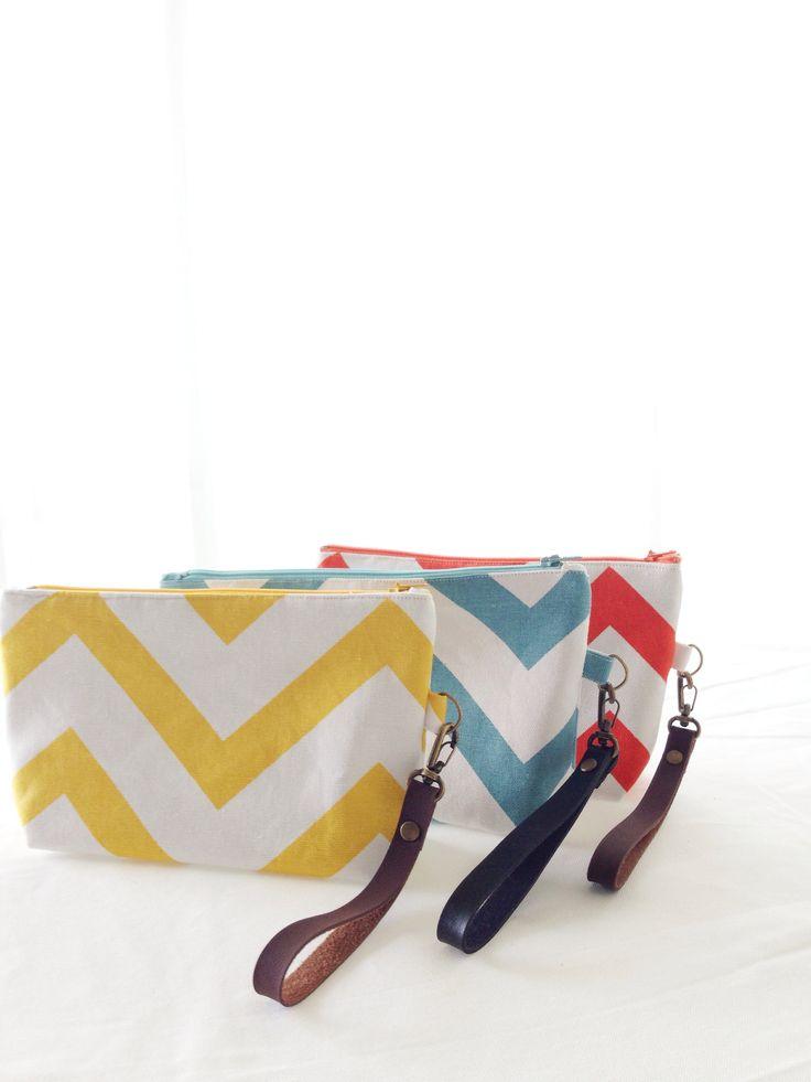 Colourful chevron pouch