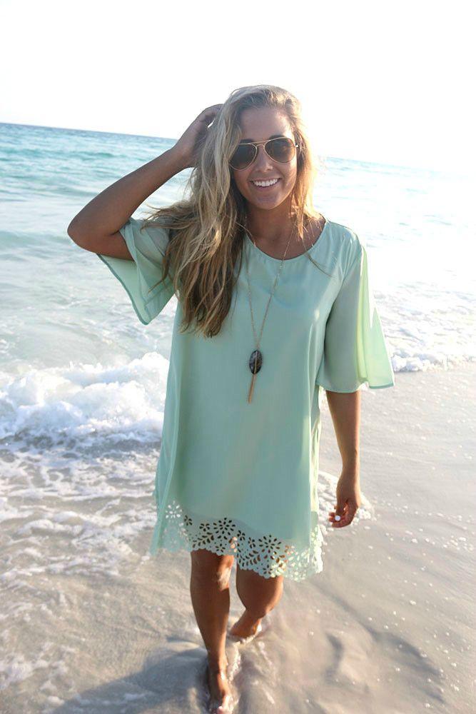 Sunny Isles Sage Lace Cutout Shift Dress