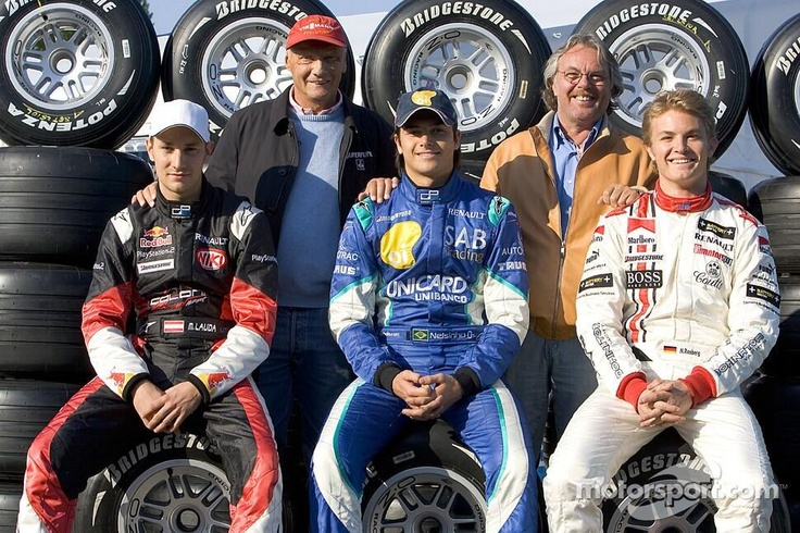 Niki & Mathias Lauda, Keke & Nico Rosberg + Nelson Piquet jr. (in the middle)