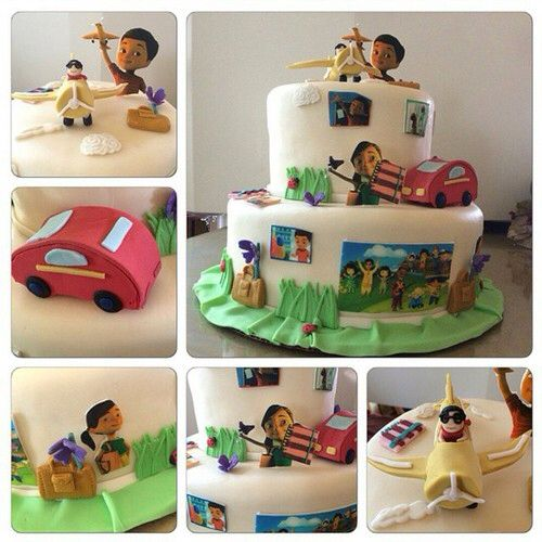 Caleb and Sophia Cake. Everything is edible: airplane, car, purse, notebook. Caleb, Sophia are made out of sugar. http://ministryideaz.com