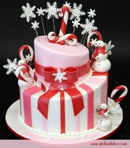 pink red and white winter cake